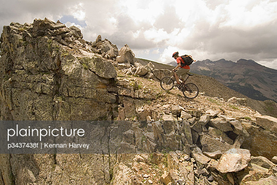Mountain biker on rocky trail