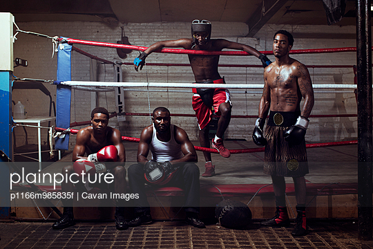USA, New Jersey, Paterson, Portrait of group of boxers