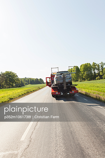 Sweden, Sodermanland, Salem, Car on tow truck