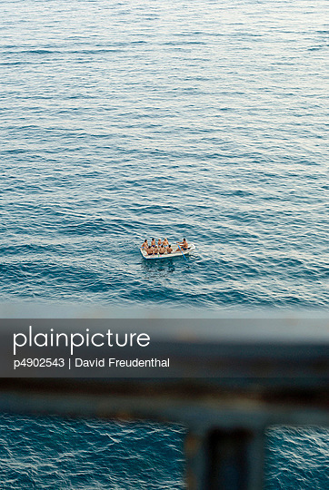 Medium group of people in a boat