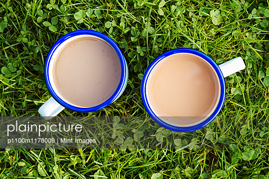 High angle view of two mugs of tea on a lawn.