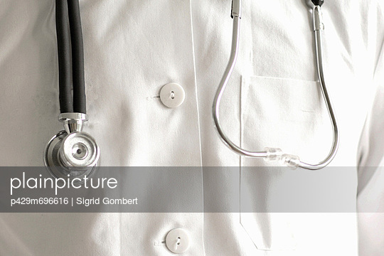 Close up of stethoscope and lab coat