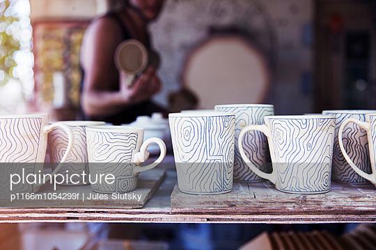 Ceramic mugs in studio