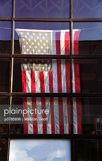 US flag in window