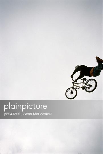 BMX Jumper in Midair