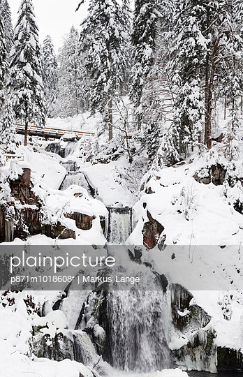 Triberg Waterfalls in winter, Triberg, Black Forest, Baden-Wurttemberg, Germany, Europe