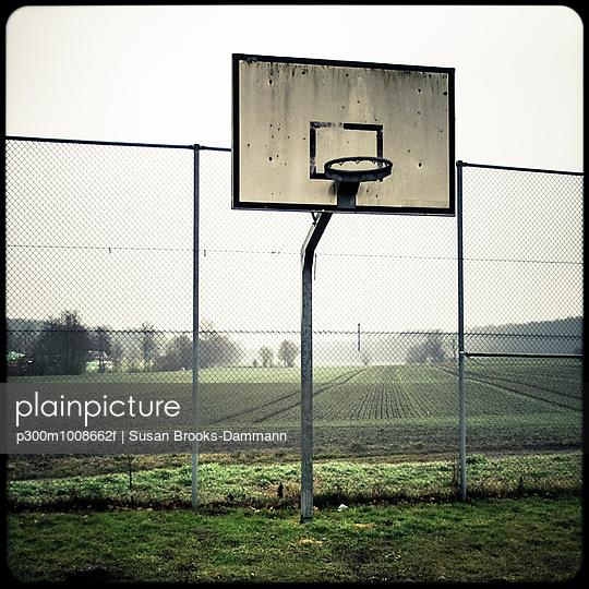 Basketball basket on a football field, Lien Bellingen, Baden-Wuerttemberg, Germany