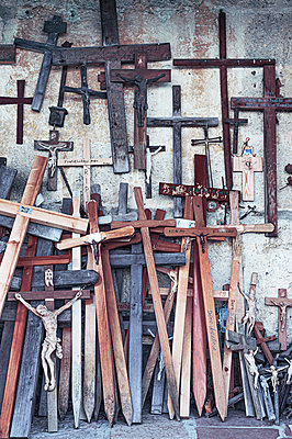 Crucifixes in front of a pilgrimage church - p1609m2253822 by Katrin Wolfmeier