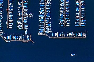 Germany, Bavaria, Chiemgau, Aerial view of Lake Chiemsee, harbour with pleasure crafts - p300m2081225 by Michael Malorny