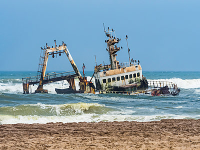 Namibia, Dorob National Park, Henties Bay, ship wreck of stranded Zeila - p300m1113424f by Martin Moxter