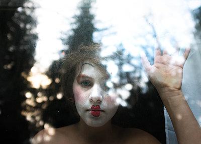 Clown Faced Boy - p1503m2020433 by Deb Schwedhelm