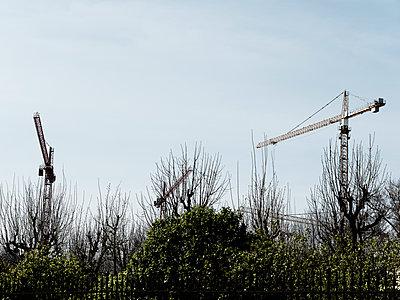 Baukräne hinter einem begründen Zaun - p1383m2100697 von Wolfgang Steiner