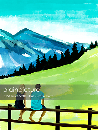 Young couple looks at the mountains, illustration - p1541m2277904 by Ruth Botzenhardt