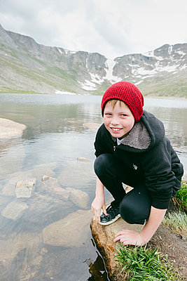 Boy at Summit Lake - Mt Evans Rd - p1262m1476996 by Maryanne Gobble
