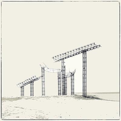 USA, Kalifornien, Bambay Beach, Artistic construction on the beach - p1154m2245397 by Tom Hogan