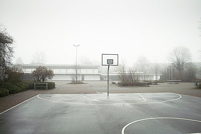 Basketball court in mist - p388m701948 by Andre