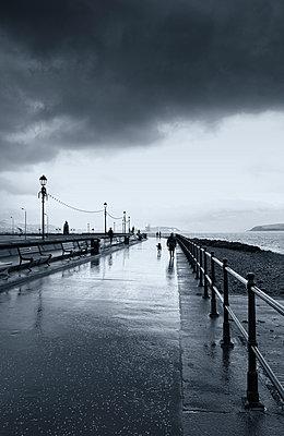 Seaside promenade rain windy winter walking dog - p609m1490718 by WRIGHT