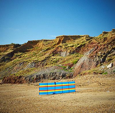 Stripy Beach windbreak - p1072m905548 by Neville Mountford-Hoare