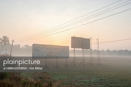 India, Old Billboards in Mist - p1488m2259854 by Sid Miller