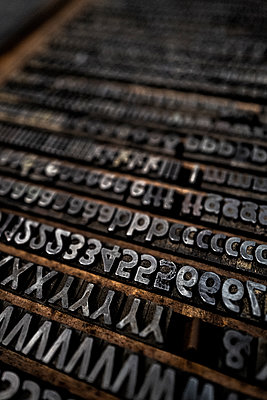 Old Type case, Printing industry - p1523m2090047 by Nic Fey