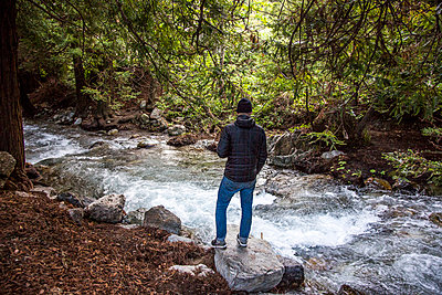 Caucasian man standing on rock near stream in woods - p555m1482110 by Adam Hester