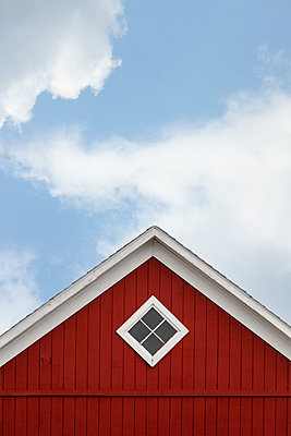 Peak of Red Barn with Blue Sky - p1331m1196423 by Margie Hurwich