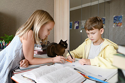Brother and sister with a cat sitting at table at home doing homework together - p300m2156001 by Ekaterina Yakunina
