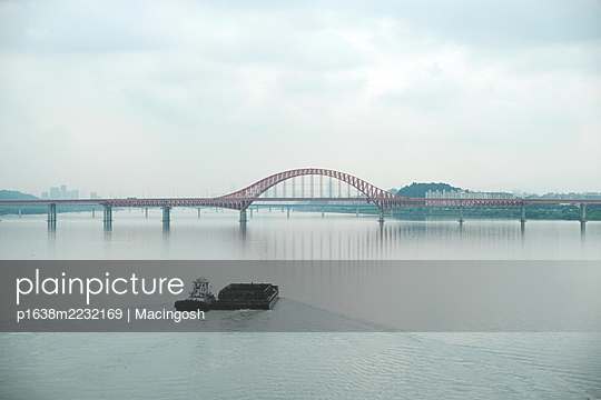 Vessel and bridge in South Korea - p1638m2232169 by Macingosh