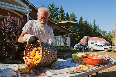 Man removing food from container on table in backyard against sky during sunny day - p1166m1403728 by Cavan Images