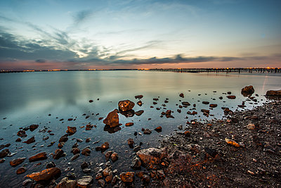 Lake with sunset glow - p829m1110845 by Régis Domergue