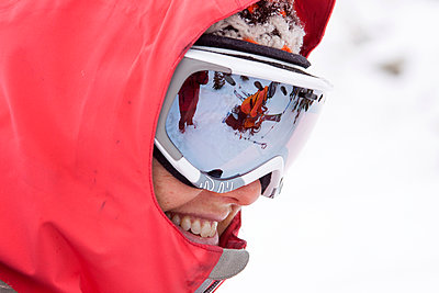 A female backcountry skier near Pony, Montana. - p343m958357f von Craig Moore