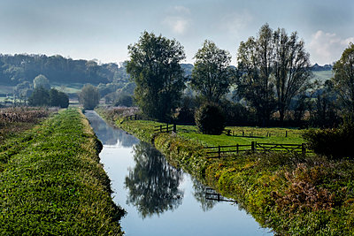 A drainage channel and farmland of the Somerset Levels, Ham Wall, Somerset, England, United Kingdom - p871m2068499 by Roy Rainford