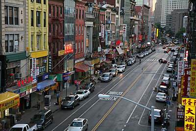 Shot from the Manhattan Bridge of Canal Street in Chinatown - p301m714519f by Frederick Bass