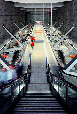 Escalators of an Underground Station - Rail Traffic  - p4900220 by Cadaphoto