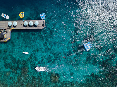 Aerial view, Wooden pier and boats - p1108m2090329 by trubavin