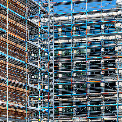 Shell facade with scaffolding - p401m2181744 by Frank Baquet