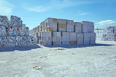 Sortiertes Altpapier, wartet auf Recycling - p1525m2086913 von Hergen Schimpf
