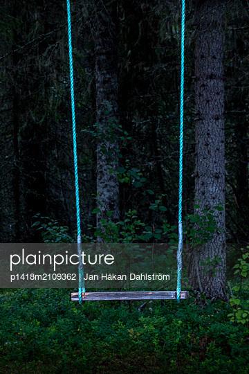 Swing in mysterious forest - p1418m2109362 by Jan Håkan Dahlström