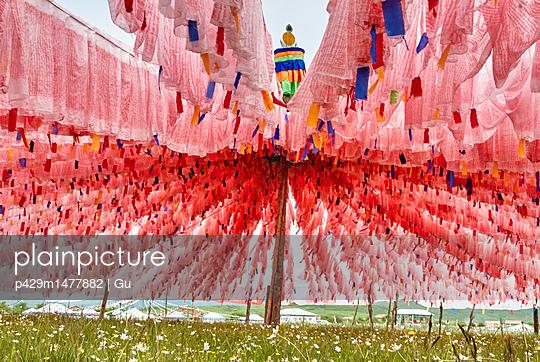 plainpicture | Photo library for authentic images - plainpicture p429m1477882 - Rows of pink prayer flags a... - plainpicture/Cultura/Gu