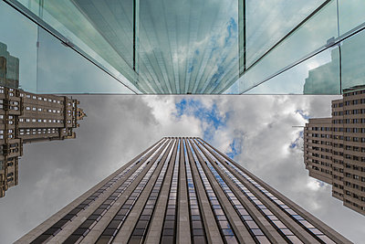 Office building reflected in glass front - p1280m2182463 by Dave Wall
