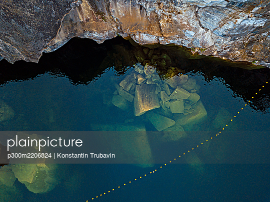 Russia, Republic of Karelia, Ruskeala, Aerial view of marble in Marble Lake - p300m2206824 by Konstantin Trubavin