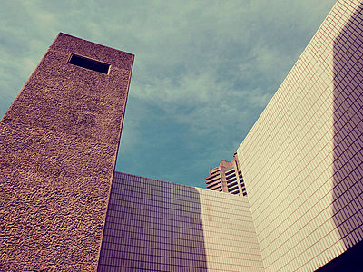 Architectural facade of the Barbican Centre  - p1072m829224 by Neville Mountford-Hoare