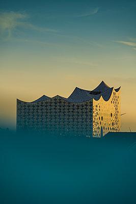Blick auf Elbphilharmonie über den Dächern der Hamburger Speicherstadt III - p1493m1584464 von Alexander Mertsch