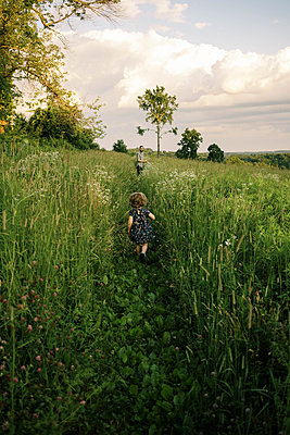 A family walking through a meadow in the evening - p1166m2201287 by Cavan Images