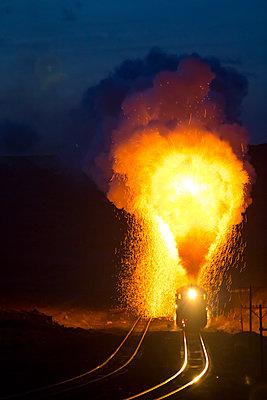 Steam engine at night - p1208m1582647 by Wisckow