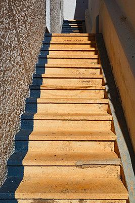 Steep set of wooden steps; la isleta del moro almeria province spain - p442m700119f by Ken Welsh