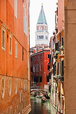 Campanile and Gondola on Canal in Venice, Italy - p651m2033725 by Peter Fischer