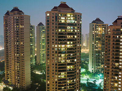 Shanghai buildings in the evening - p9249164f by Image Source