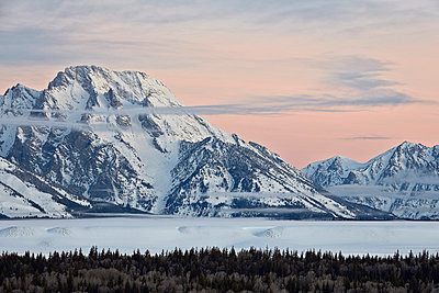 Mount Moran at dawn in the winter, Grand Teton National Park, Wyoming, United States of America, North America - p871m975932f by James Hager