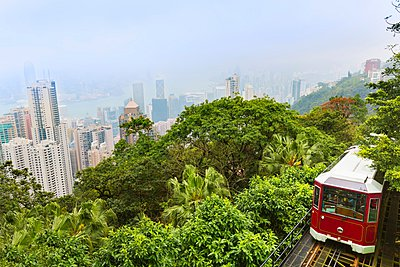 Peak tram and central Hong Kong skyline, Hong Kong, China - p429m1046999f by Henglein and Steets